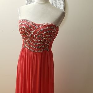 Crystal  beaded sweetheart long dress